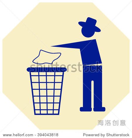 垃圾桶或垃圾可以在矢量图符号与人类