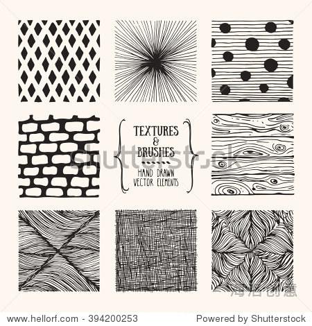 手绘纹理和刷子.艺术设计元素的集合:几何形状,波浪线