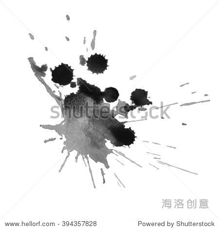 富有表现力的水彩单色黑白底色溅水.矢量图