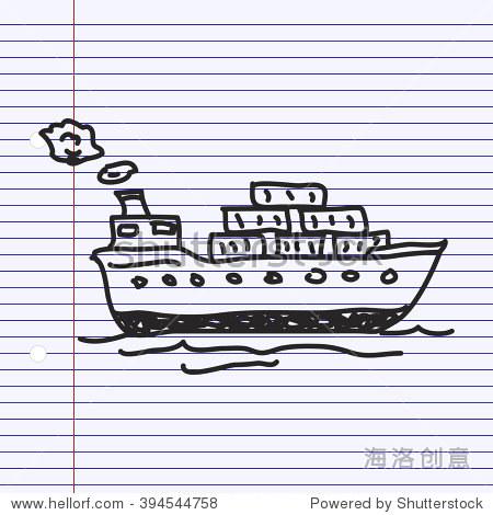 简单的手绘涂鸦货船-符号/标志,其它-海洛创意正版