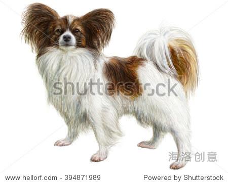 狗魔小狗手绘和颜料在白色背景说明.-动物/野生生物