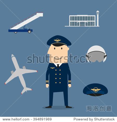 飞行员职业图标与船长制服被飞机和飞行头盔,鸭舌帽,现代机场建设和
