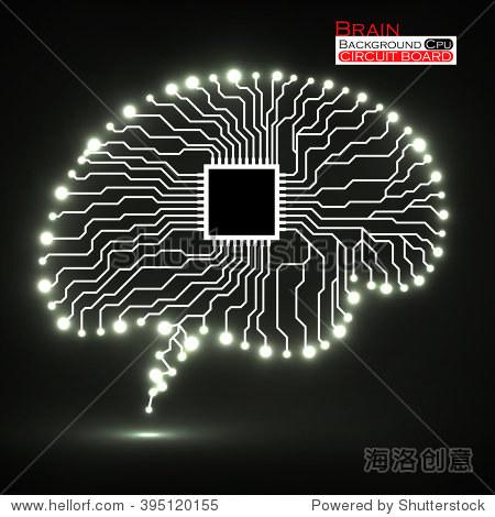 霓虹灯的大脑.cpu.电路板.抽象的技术背景.矢量插图.每股收益10