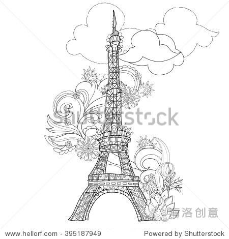 zentangle程式化的埃菲尔铁塔手绘矢量插图.素描纹身或makhenda.