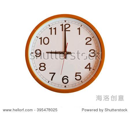 小�9�`9�b�o.�in9l$yi�_orange wall clock isolated in nine o\'clock on white backgro
