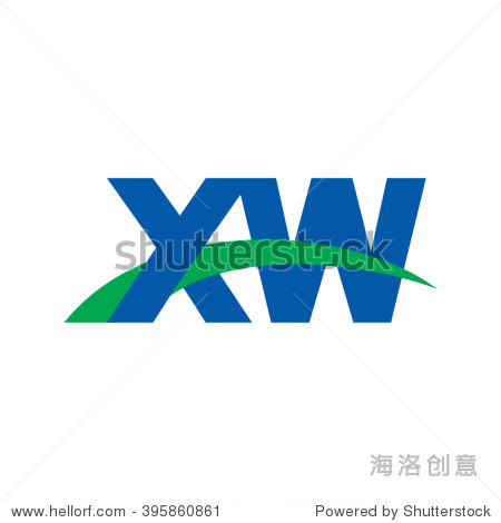xw initial overlapping swoosh letter logo blue green