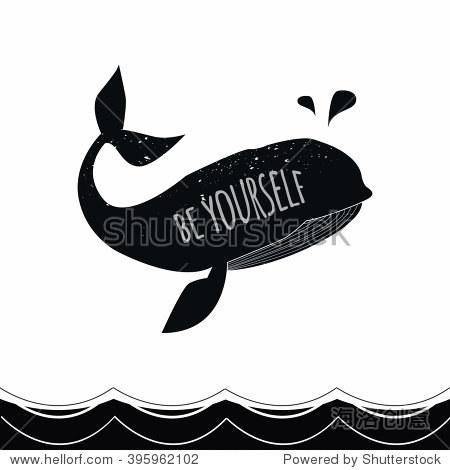 与鲸鱼矢量手绘海报排版,大海和海浪.做你自己.
