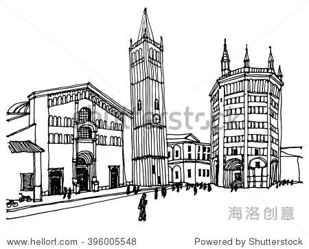 场景街景,全景图 手绘墨线图的欧洲城市帕尔马,浸信会教堂,意大利图片