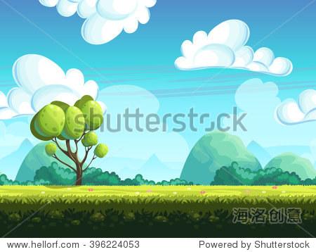 无缝的背景树和石头从山上