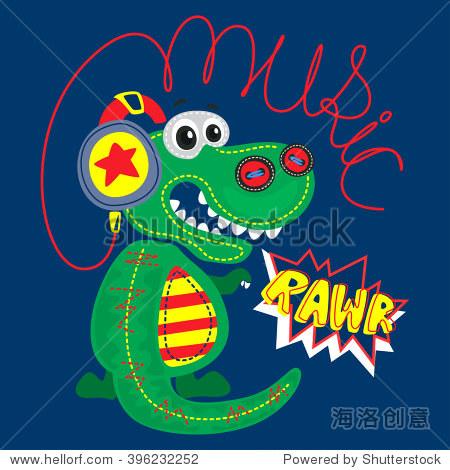 可爱的卡通霸王龙恐龙说戴着耳机rawr海军蓝色背景说明向量.