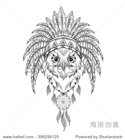 印度鹰的羽毛头饰.手画矢量图图片