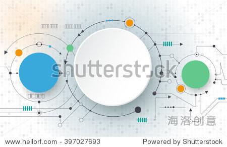 向量文摘未来电路板浅灰色背景,高科技数码技术的概念