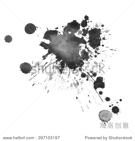 富有表现力的水彩单色黑白底色溅水