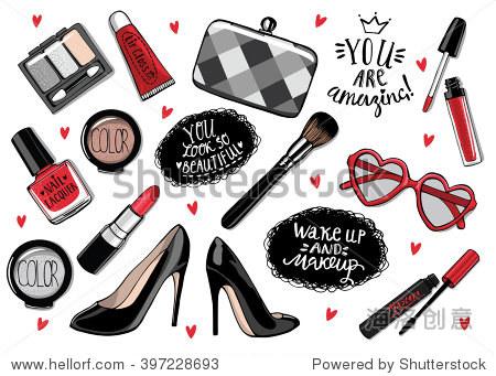 手绘时装.收集的化妆品:指甲油,睫毛膏,口红,眼影,唇彩刷.