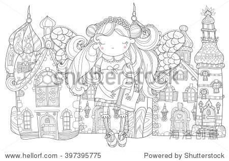 向量的可爱公主童话花皇冠上的长着翅膀的女孩