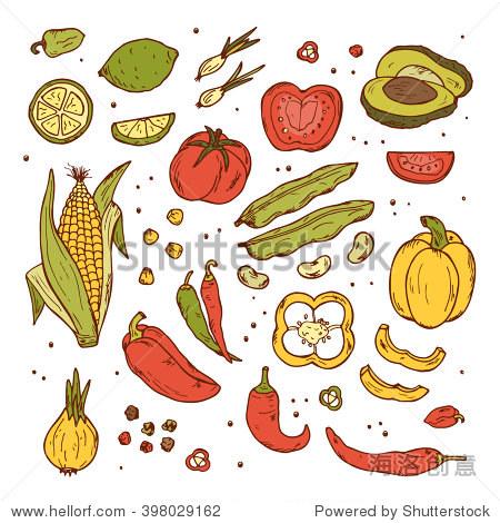 食物元素涂鸦素材