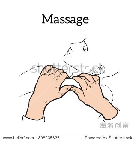 手按摩疗法.治疗手册.放松.矢量图标.