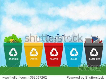 回收垃圾桶.分离的概念.浪费:塑料,有机,电池,玻璃,金属,纸.垃圾分类.