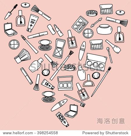 美容产品和化妆品手绘涂鸦剪贴画背景一个心的形状