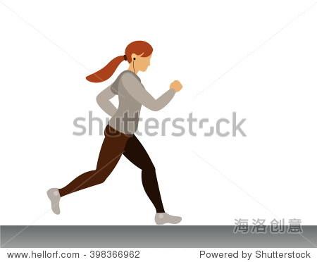 可爱的运动女孩使用音乐耳机.早晨慢跑