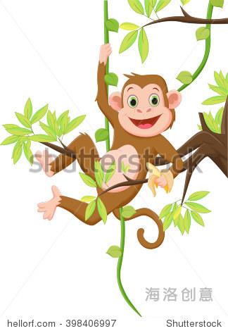 可爱的猴子挂在树上,拿着香蕉