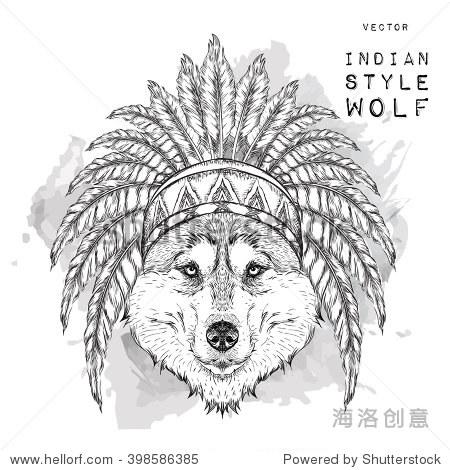 狼在印度罗奇.印度鹰的羽毛头饰.手画矢量图 - 动物