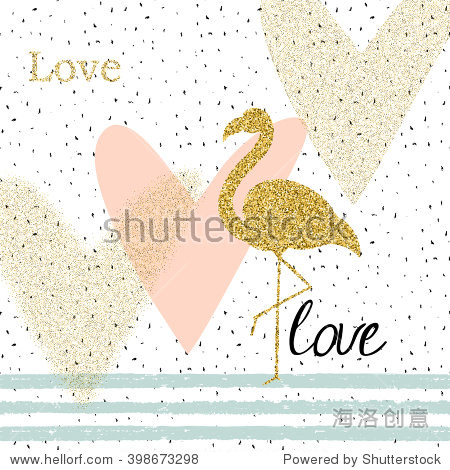 creativity card with gold glitter flamingo and different hearts.