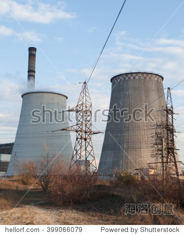 电厂冷却塔-工业-海洛创意正版图片