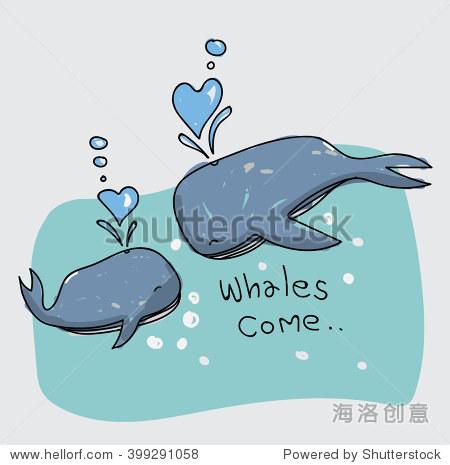 手绘鲸鱼在爱情中,海洋或海洋 - 动物/野生生物,艺术