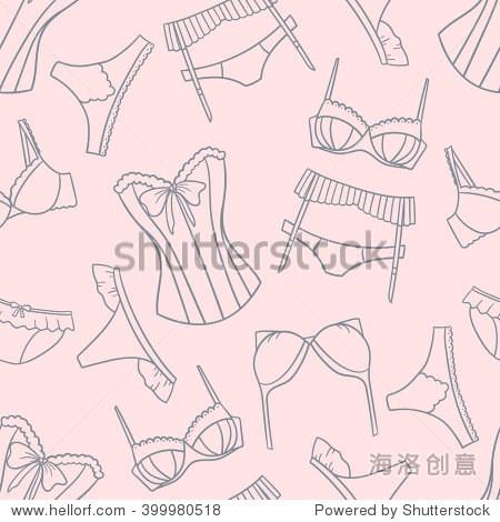 涂鸦背景矢量.女性内衣的大集合