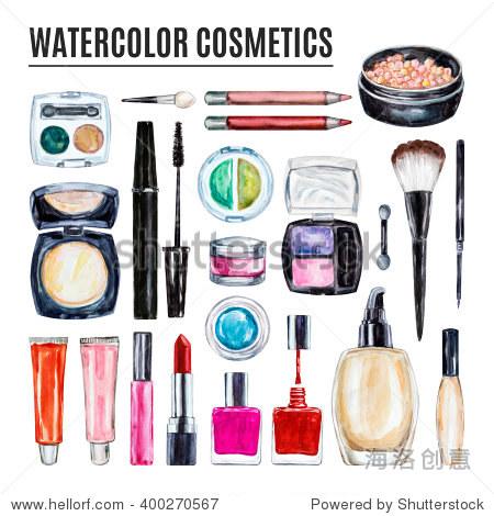 Set of various watercolor decorative cosmetic. Makeup products, beauty items, mascara, lipstick, foundation cream, brushes, eye shadow, nail polish, powder, lip gloss. Hand drawn makeup cosmetics