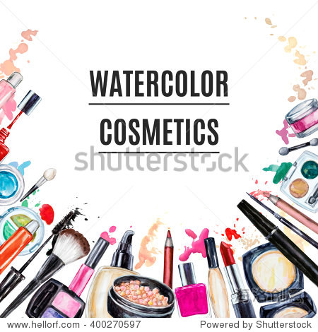 Frame of various watercolor decorative cosmetic. Makeup products, beauty items, mascara, lipstick, foundation cream, brushes, eye shadow, nail polish, powder, lip gloss. Hand drawn makeup cosmetics