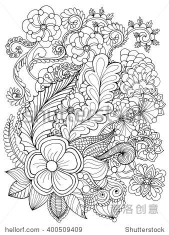 手绘涂鸦.花卉图案矢量插图.非洲,印度,图腾部落,zentangle设计.