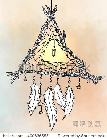 长着羽毛的手绘图描绘了一个三角形的追梦人.矢量插图