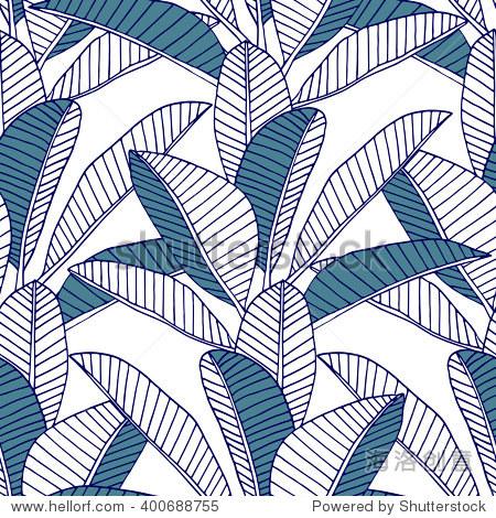 无缝的热带树叶的图案.矢量插图.