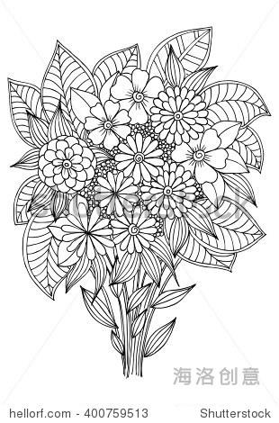 一束花简笔画-Bouquet of flowers for coloring. Black and white floral d