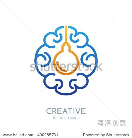 向量的大脑标志设计.线性人类大脑和灯泡的象征.抽象的孤立的插图.