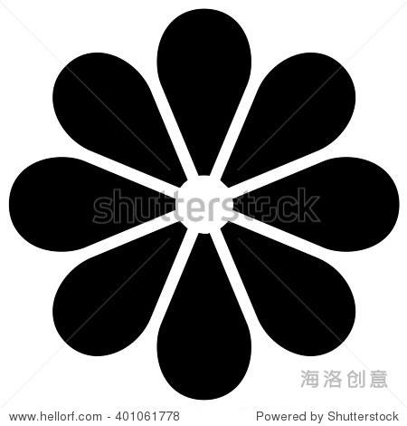 黑色花朵图标,向量.-自然,符号/标志-海洛创意正版