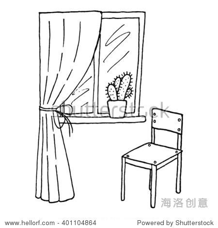 手绘室内窗户和窗帘,仙人掌和椅子.矢量图