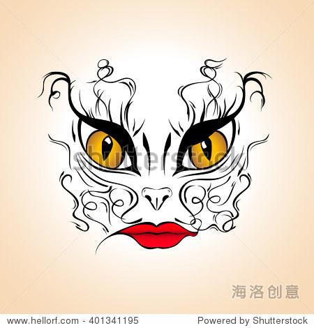 女人的猫脸画插图,纹身模板,向量