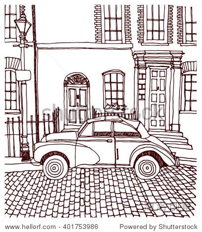场景街道插图.墨水手绘线的素描欧洲古城,历史建筑,汽车,建筑,窗户.