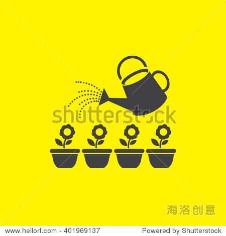 花园洒水桶矢量图标