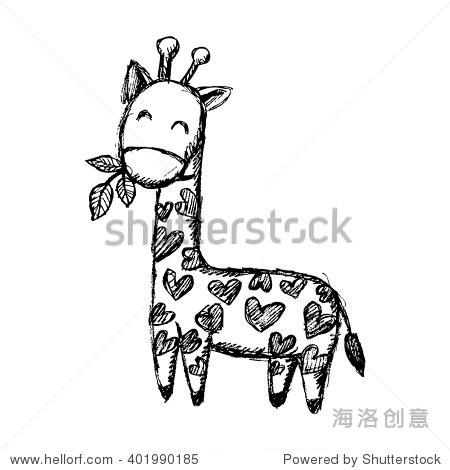 长颈鹿涂鸦.手绘插图.