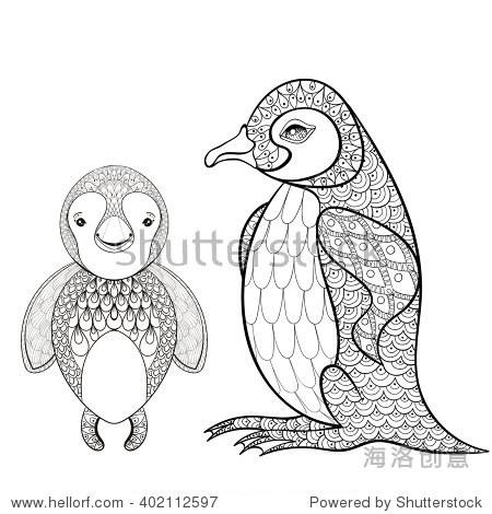 手绘可爱的企鹅母亲与孩子的t恤zentangle风格,纹身设计,观赏动物的