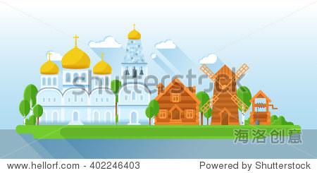 教堂,钟楼,木头小屋,轧机,水.