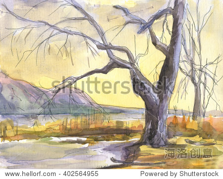 风景水彩画.树在河的银行