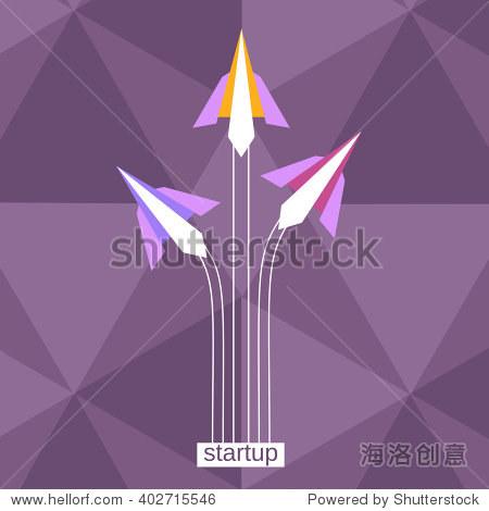 纸飞机开始飞.启动概念海报.企业旗帜模板.新协议的概念.