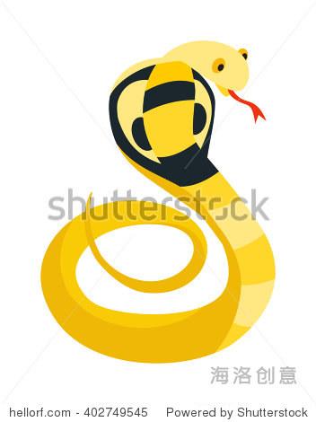 眼镜蛇条蛇盘绕,准备罢工显示尖牙舌危险爬行动物动物