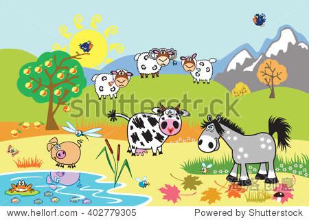 卡通农场动物:羊,马,牛和猪的牧场.农村景观.儿童插图