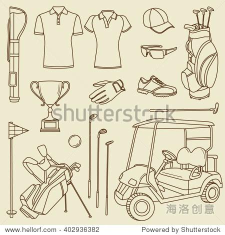 高尔夫球:手绘图标集.大的素描对象集合.矢量图